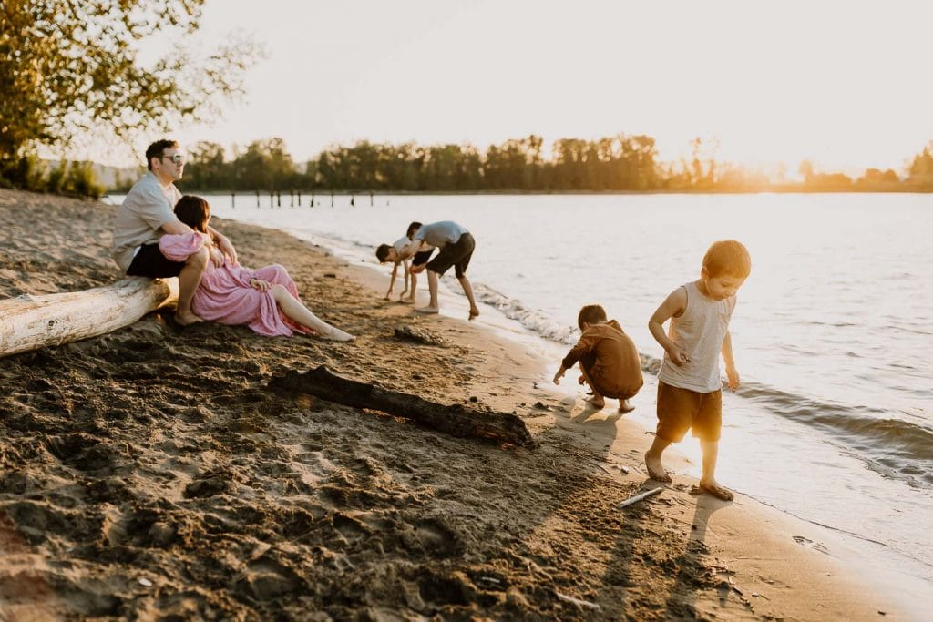 family on a river in Portland Oregon