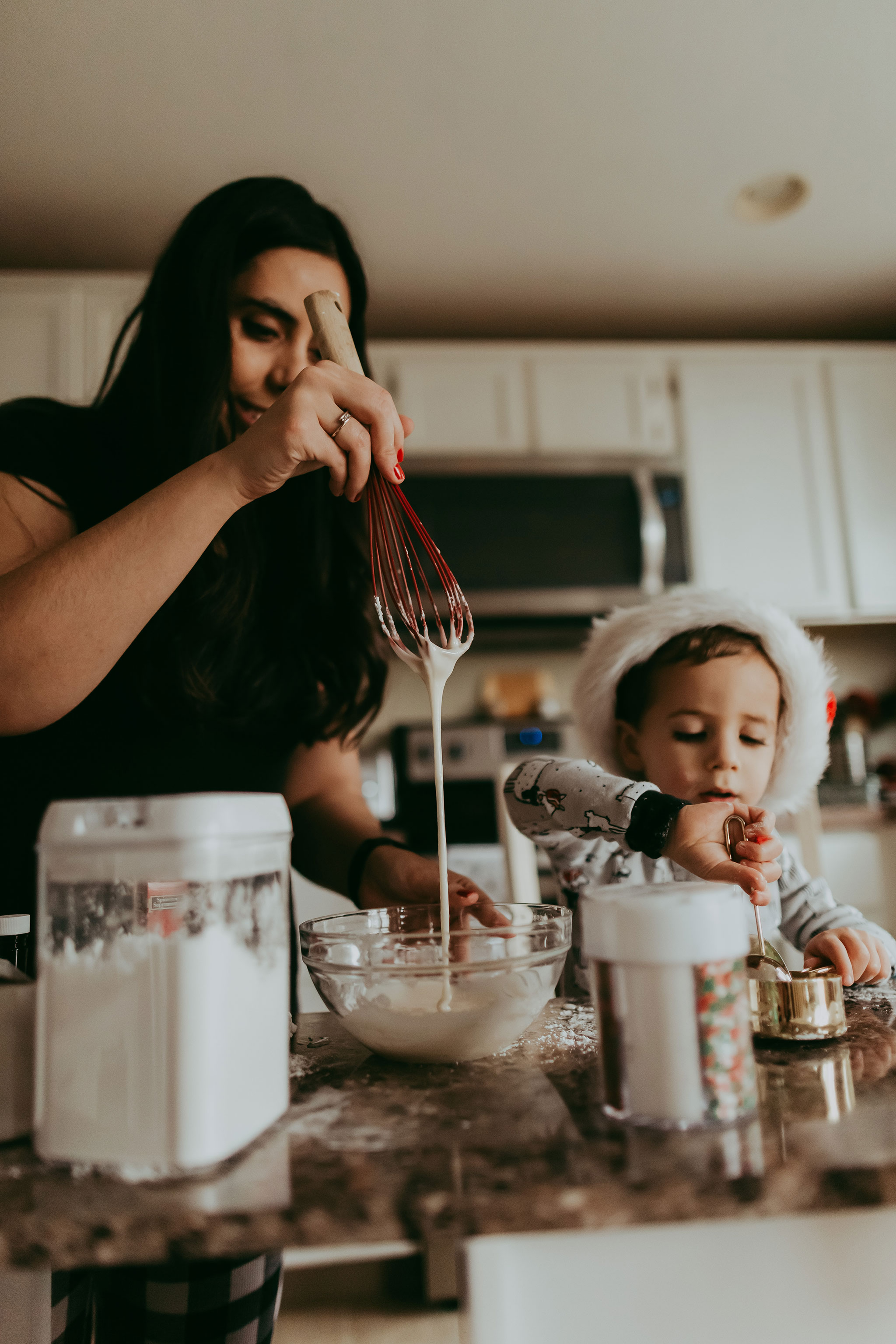 Mom and Son Baking Cookies | PDX Lifestyle Photographer