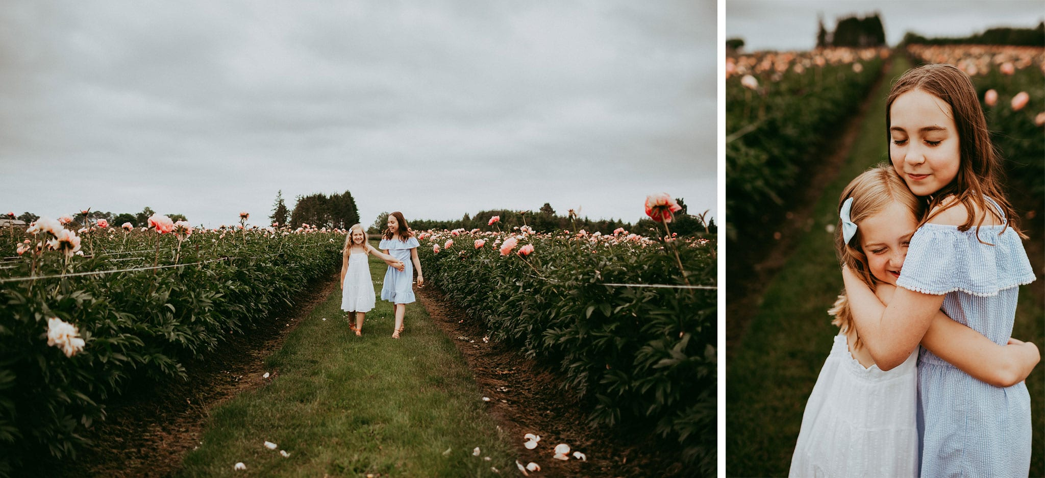 Sisters hugging on a cloudy day during photo session at peony flower garden