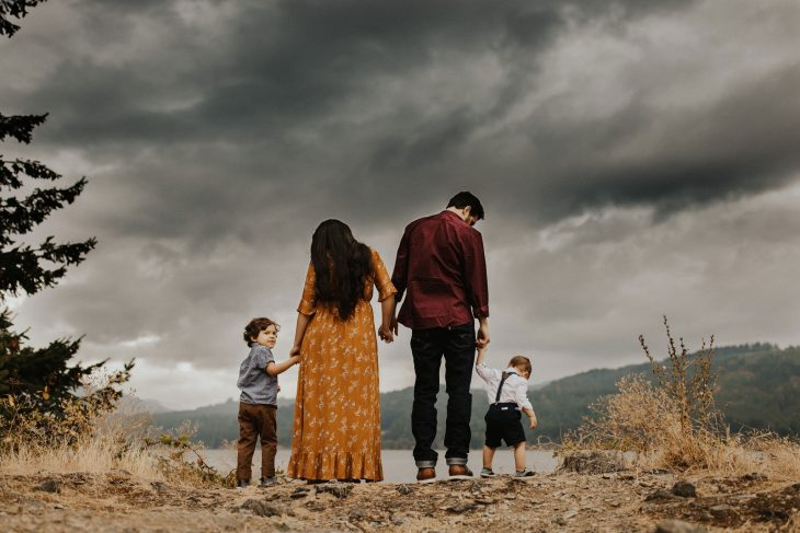 family photography session on a cloudy day in portland