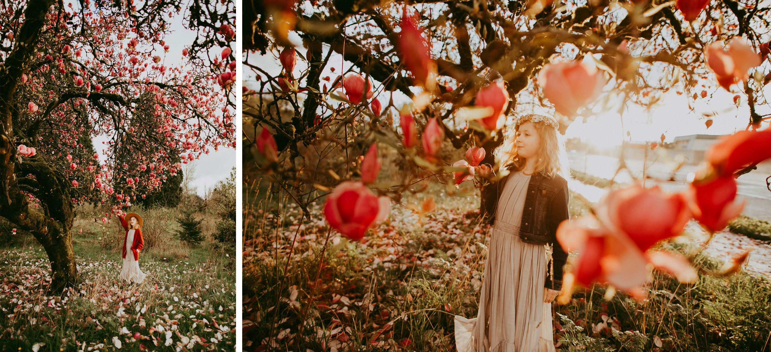 spring photos of a girl in a blooming spring tree