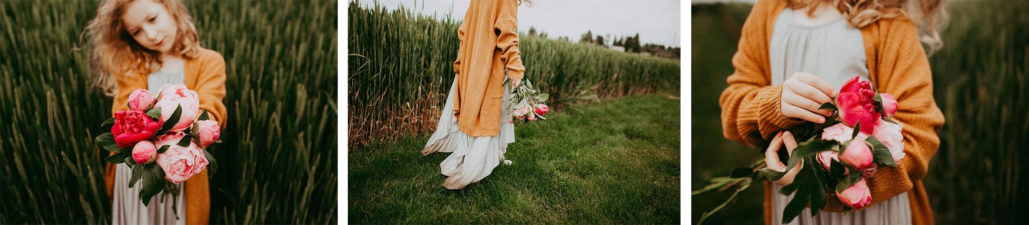 girl holding peony flowers at adelman gardens