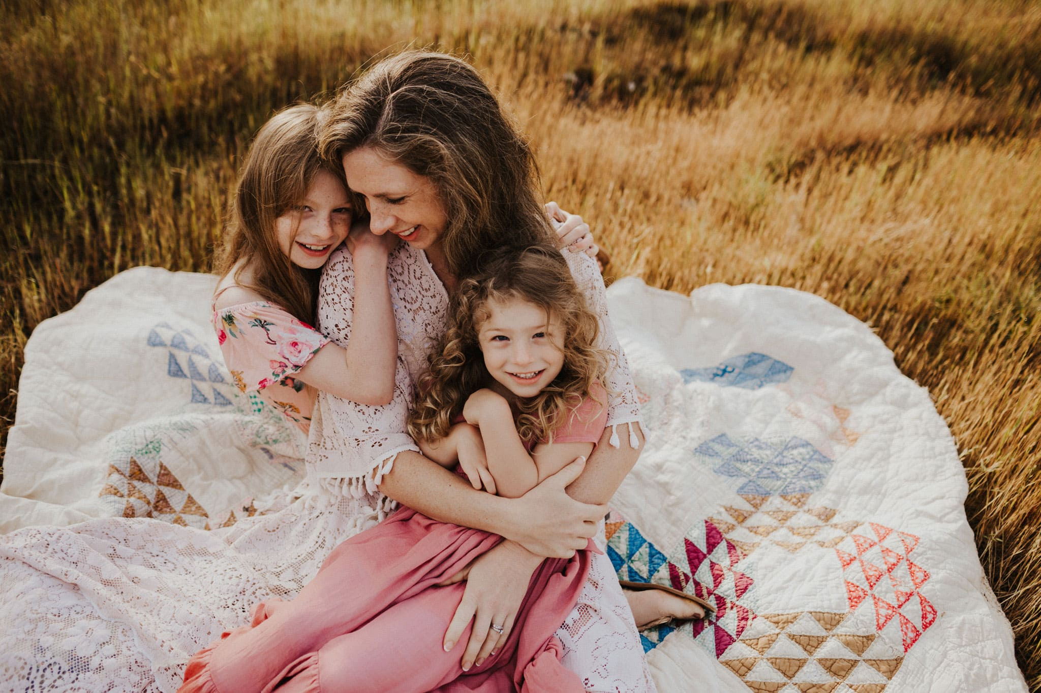 mom and daughters in dresses in oregon