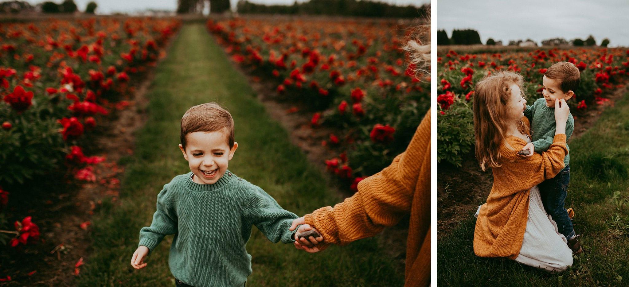 kids at adelman peony gardens