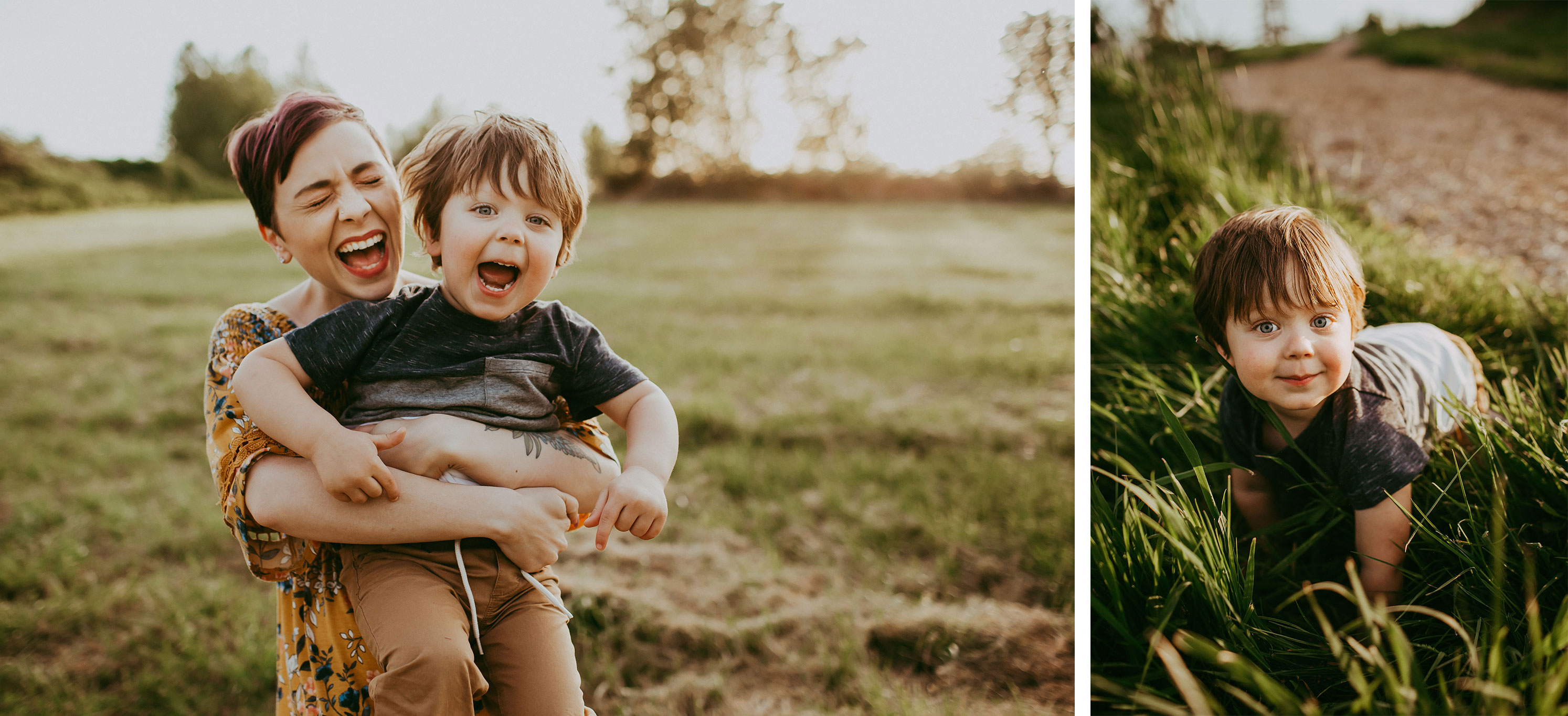 mom and toddler laughing | family photographers in Portland Oregon