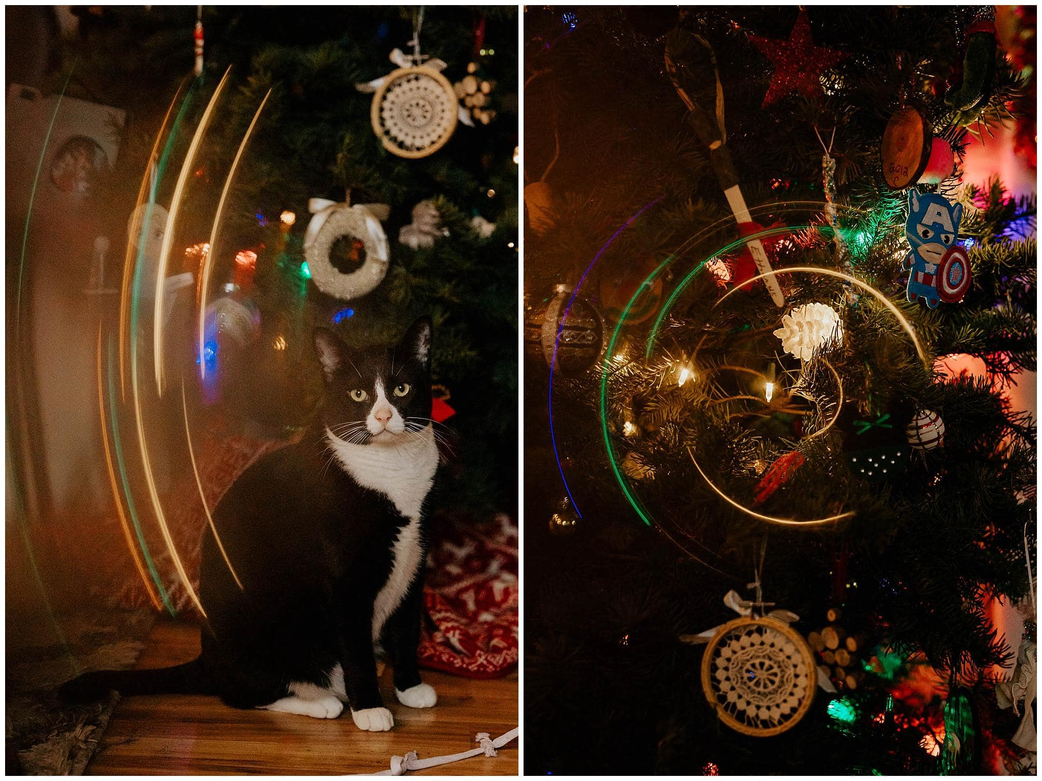 using a glass tube guitar slide to create a ring of fire photography effect with Christmas tree lights