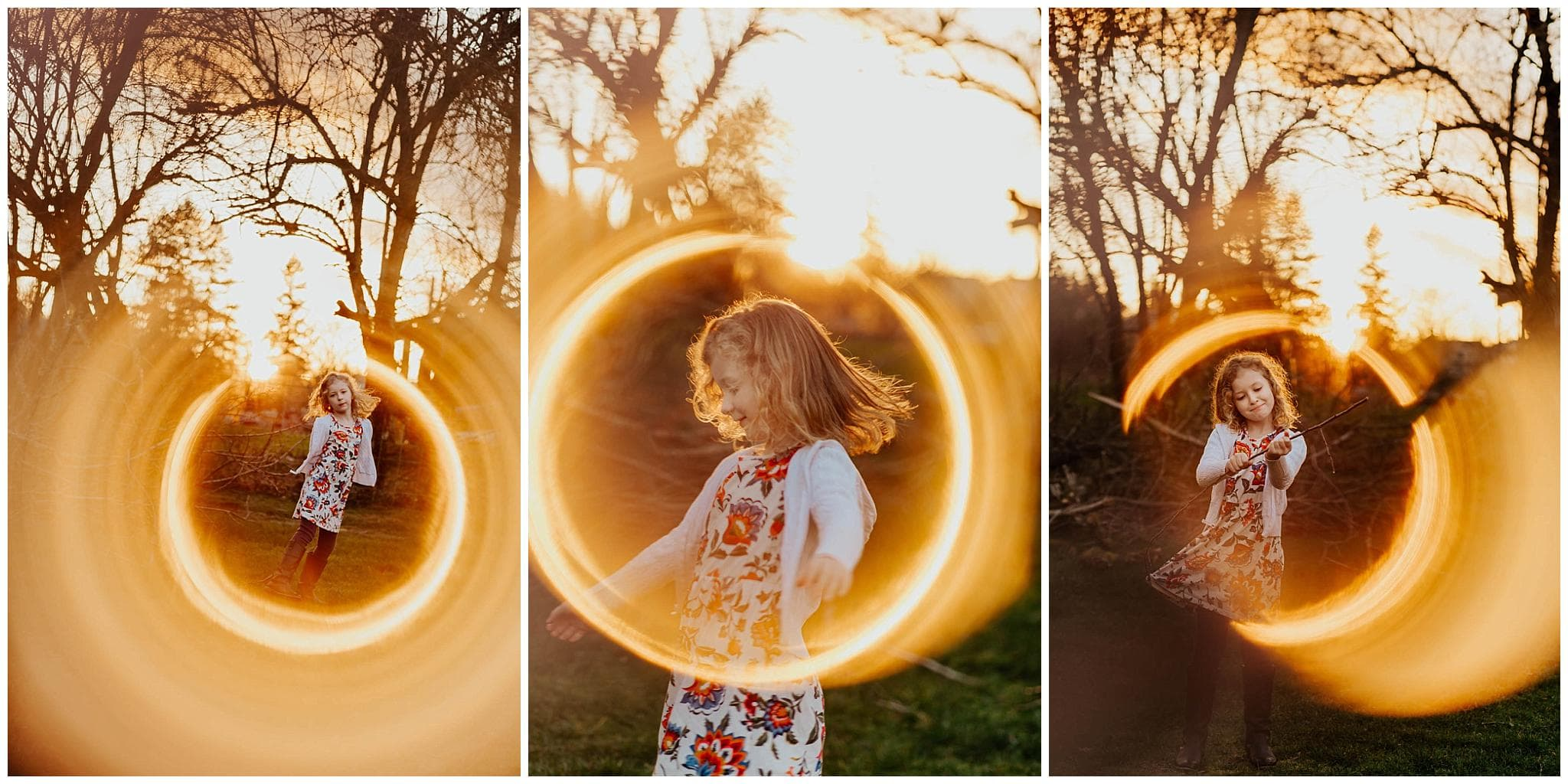 little girl dancing in the sunset light with ring of fire around her using photography technique with copper pipe