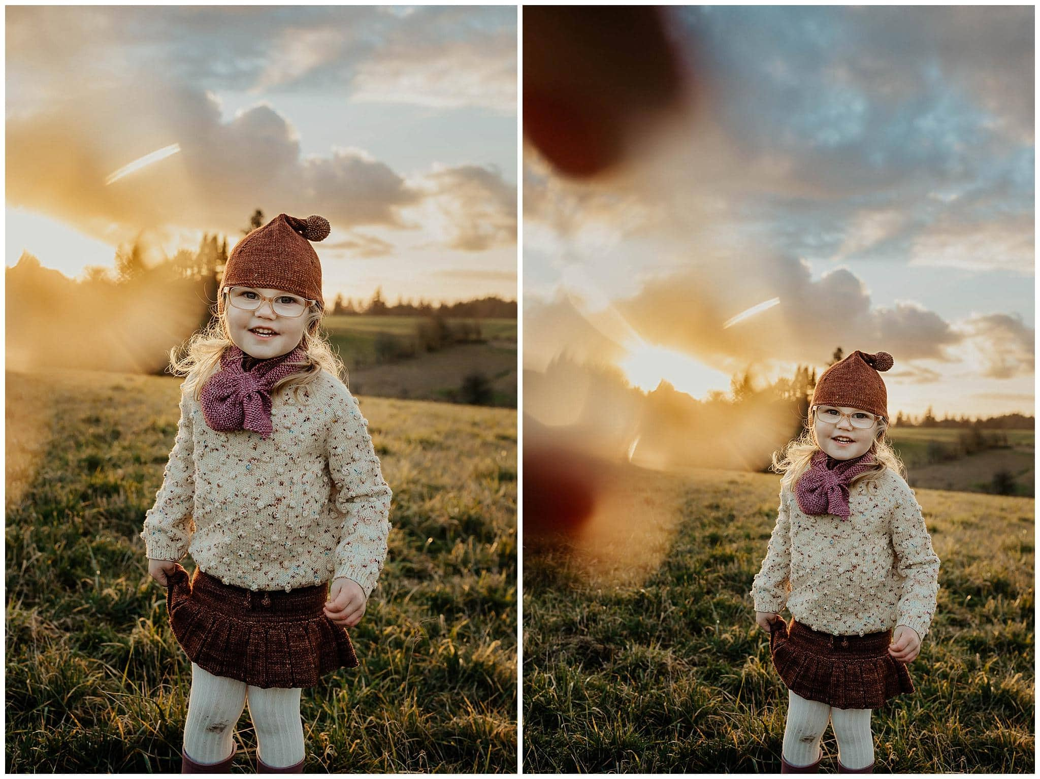 3-year-old girl in a field with the sunset behind her