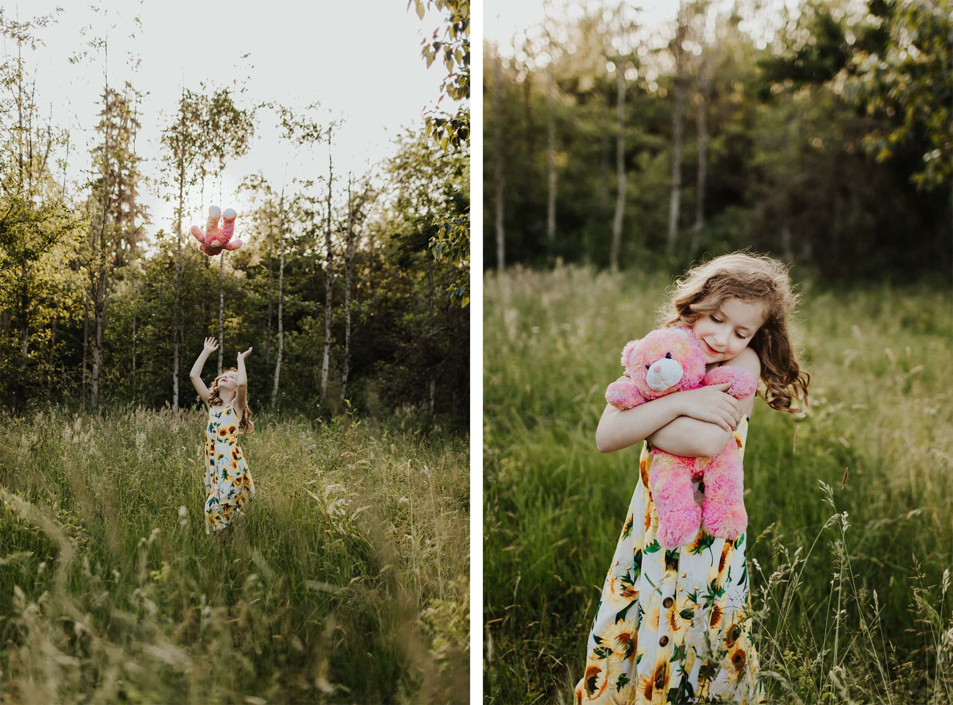 photo of child hugging teddy bear in grassy field