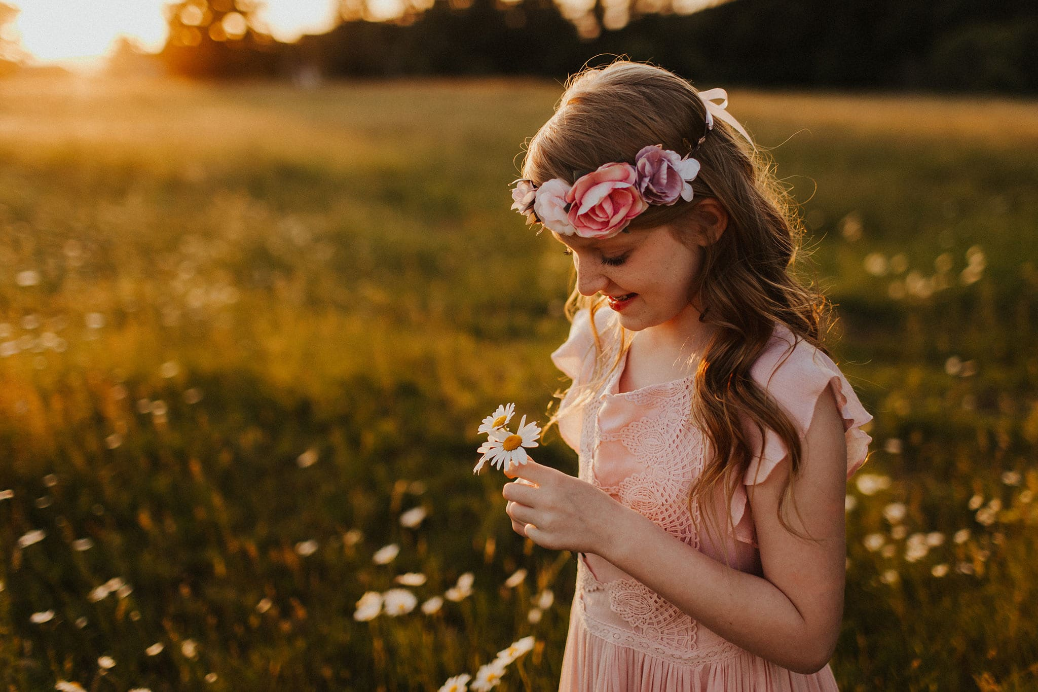 little girl with flower - photographers in portland oregon