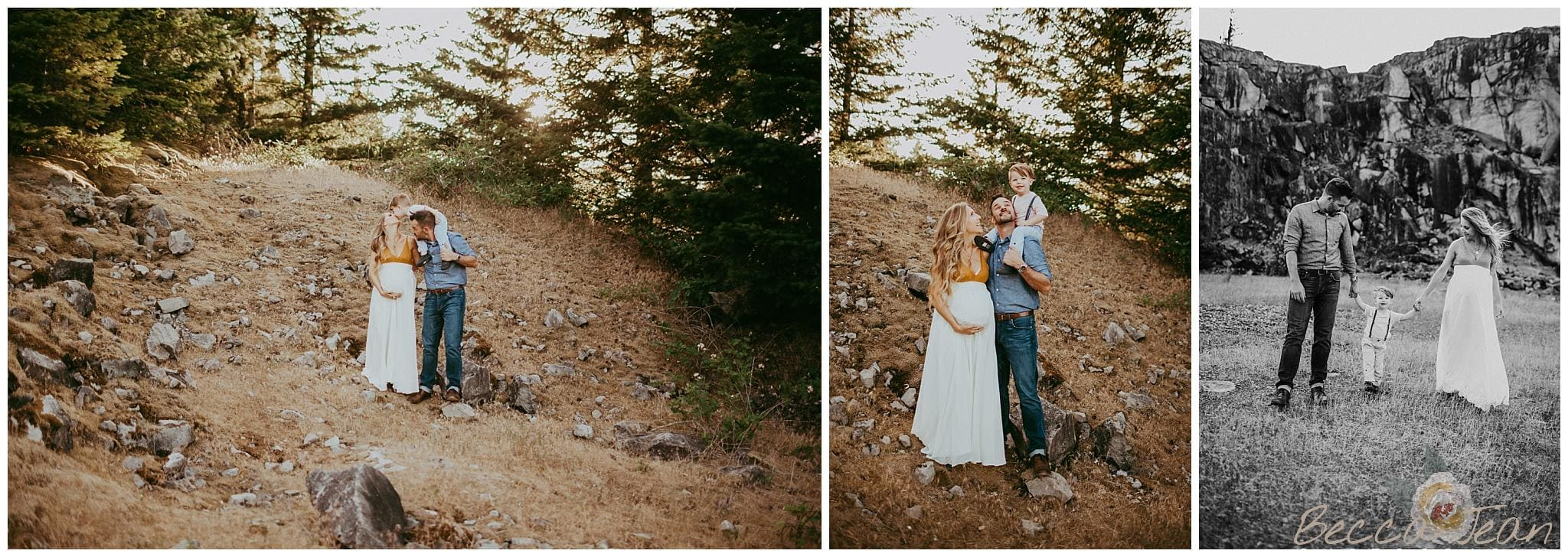 family maternity photos in the columbia river gorge