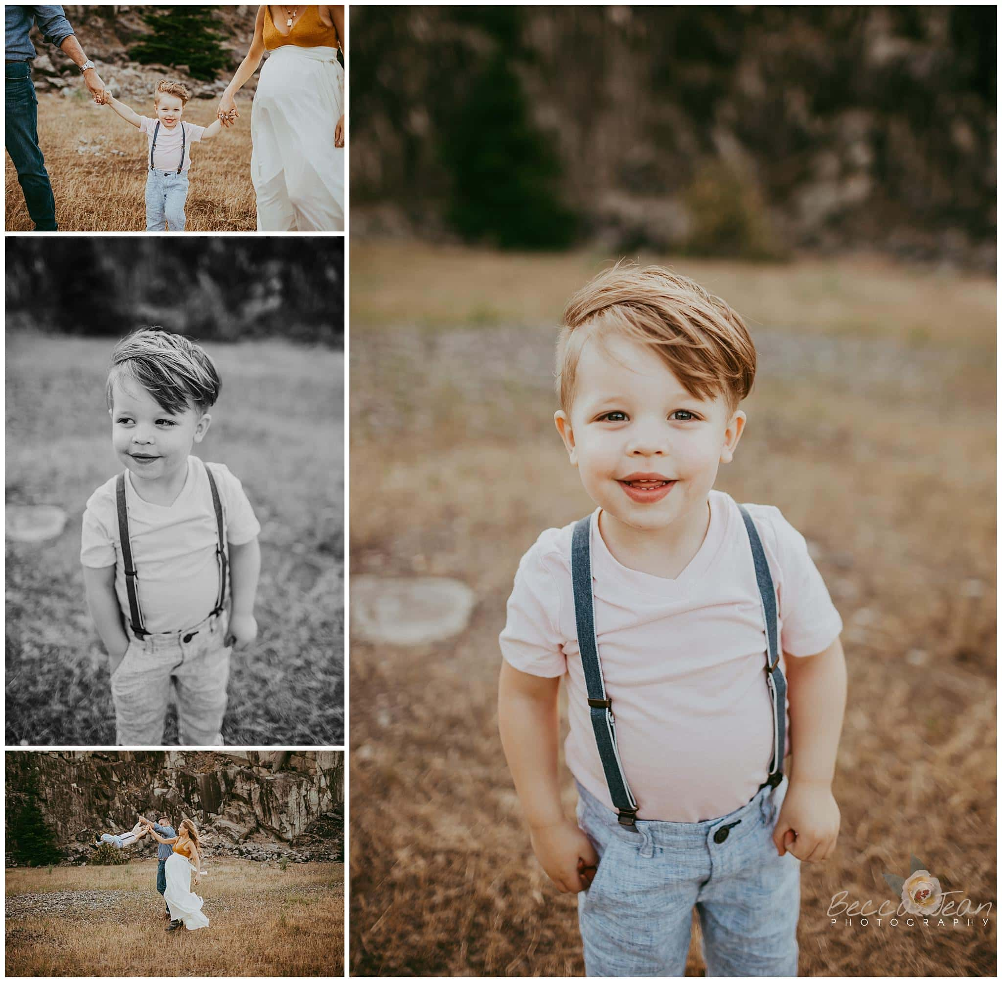 little boy in suspenders photography in the gorge