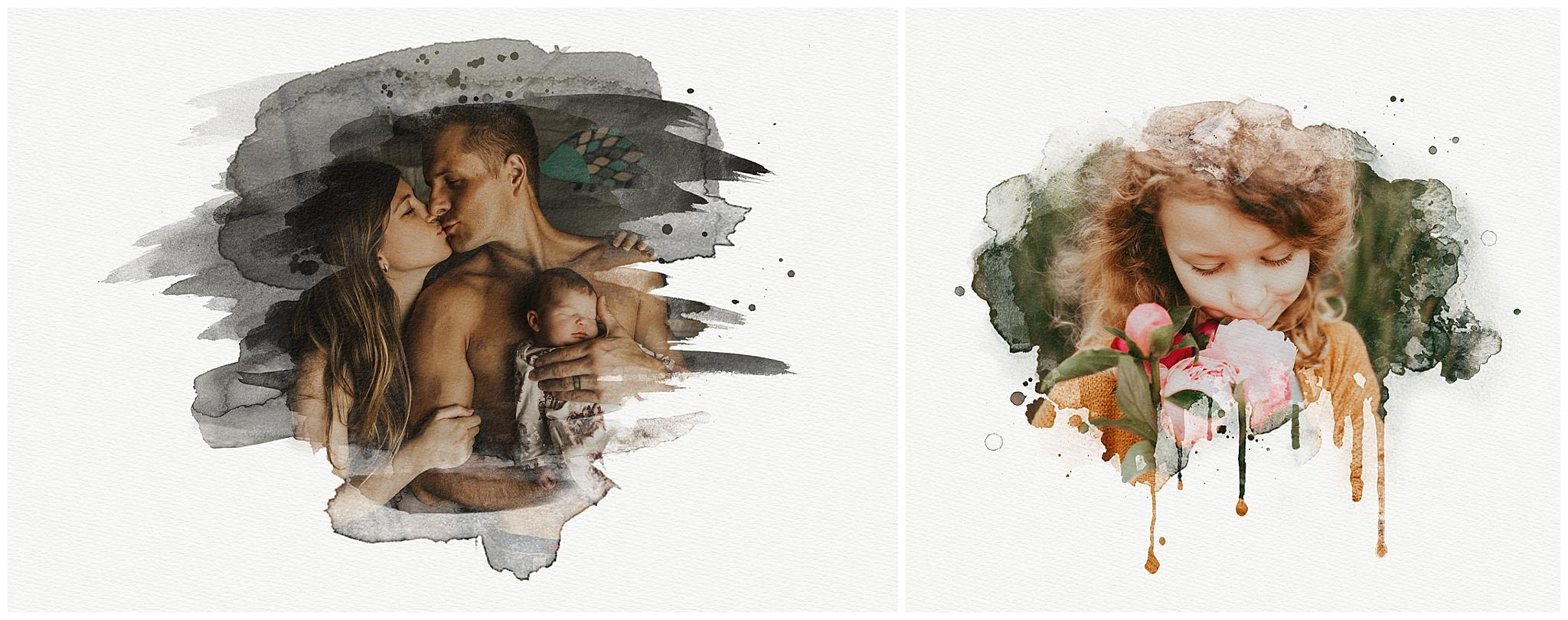 Creative watercolor photography artwork