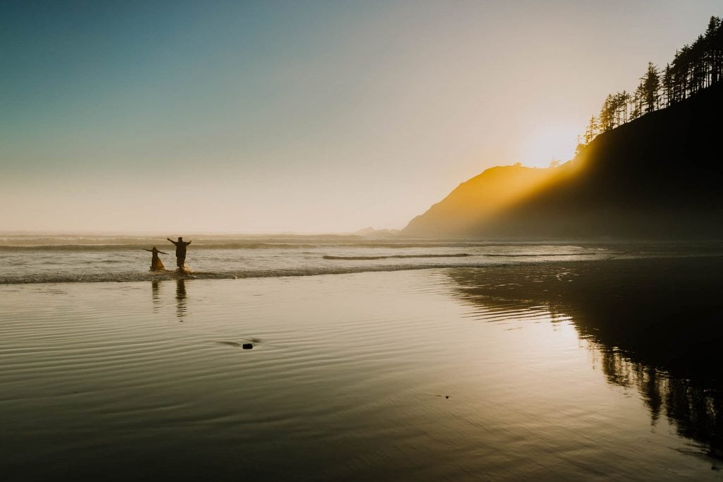 Indian Beach at Ecola State Park - Dad and daughter running to the waves