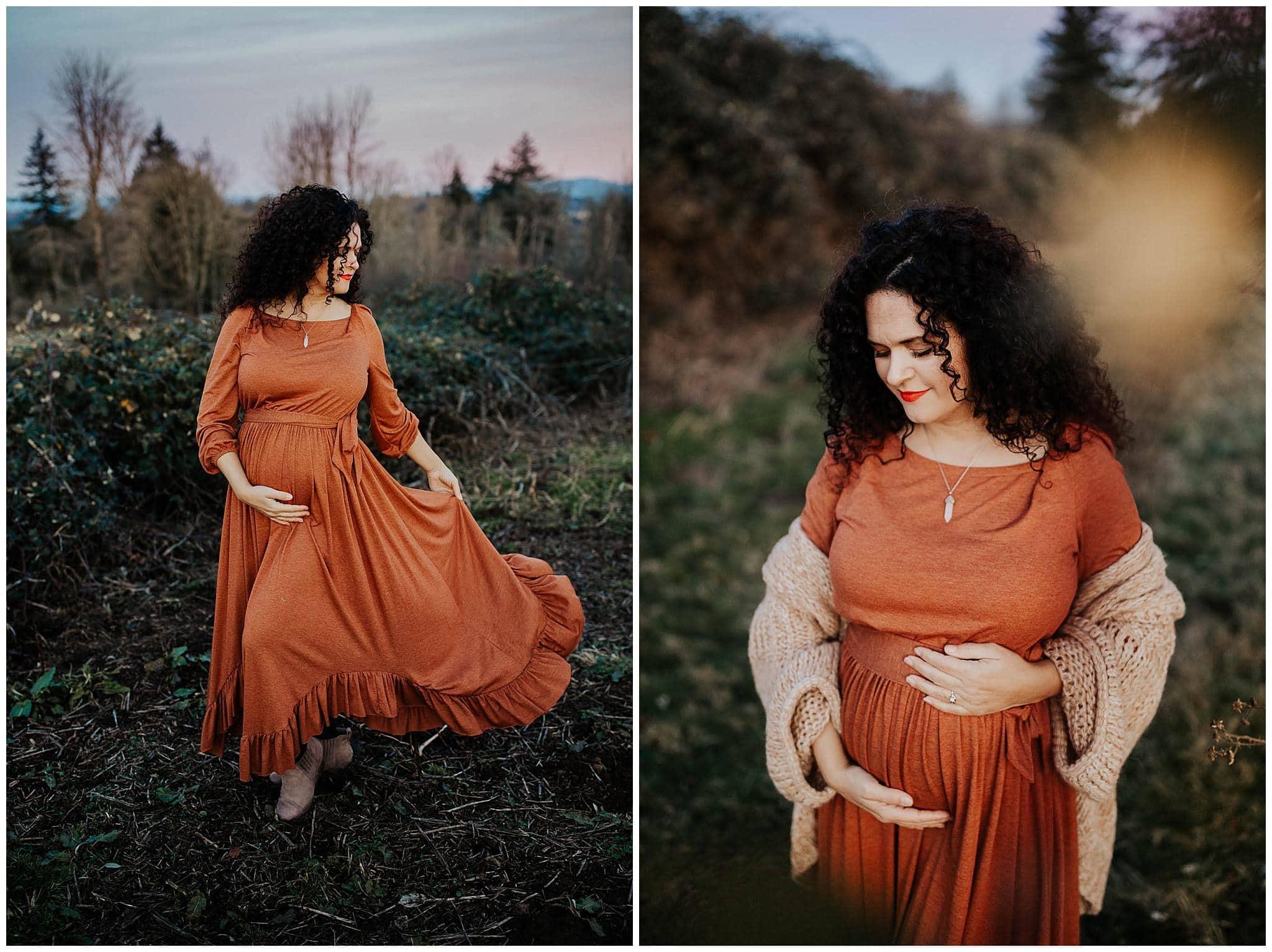 Pregnant woman in orange joyfolie dress