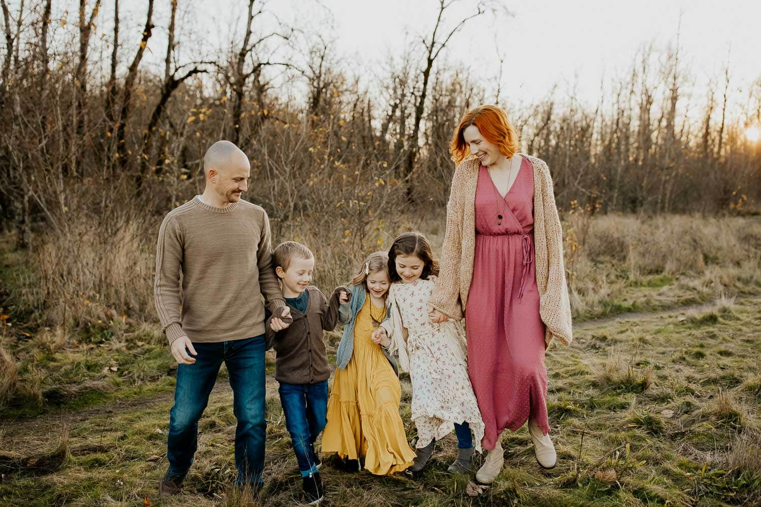 family talking together and laughing - family photographer in portland oregon