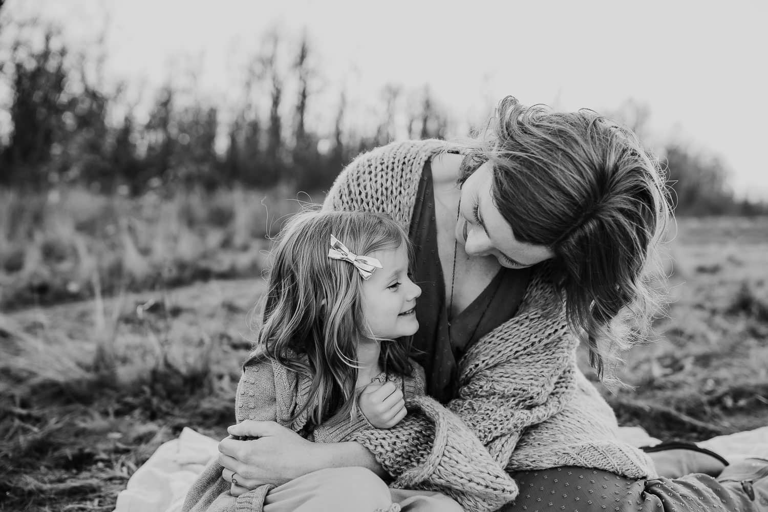 black and white image of mom and daughter