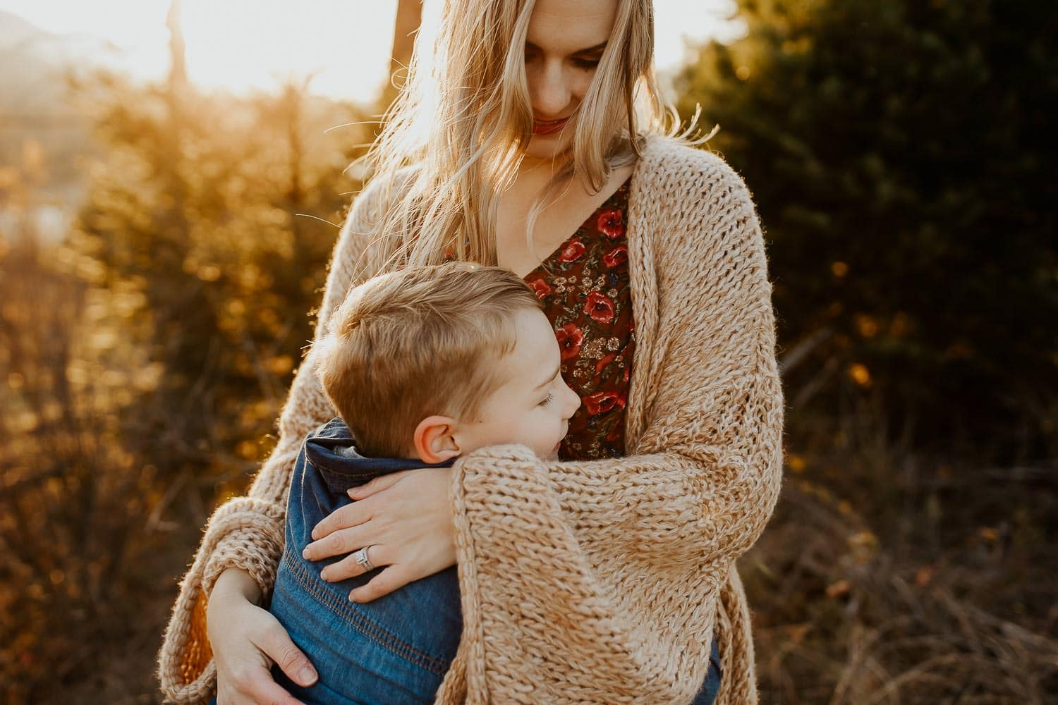 Closeup of son and mother embracing - columbia river gorge family photo session