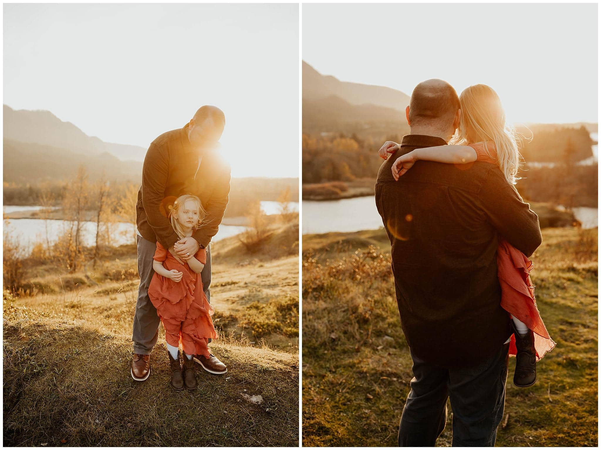 Dad and daughter cuddling during family photos
