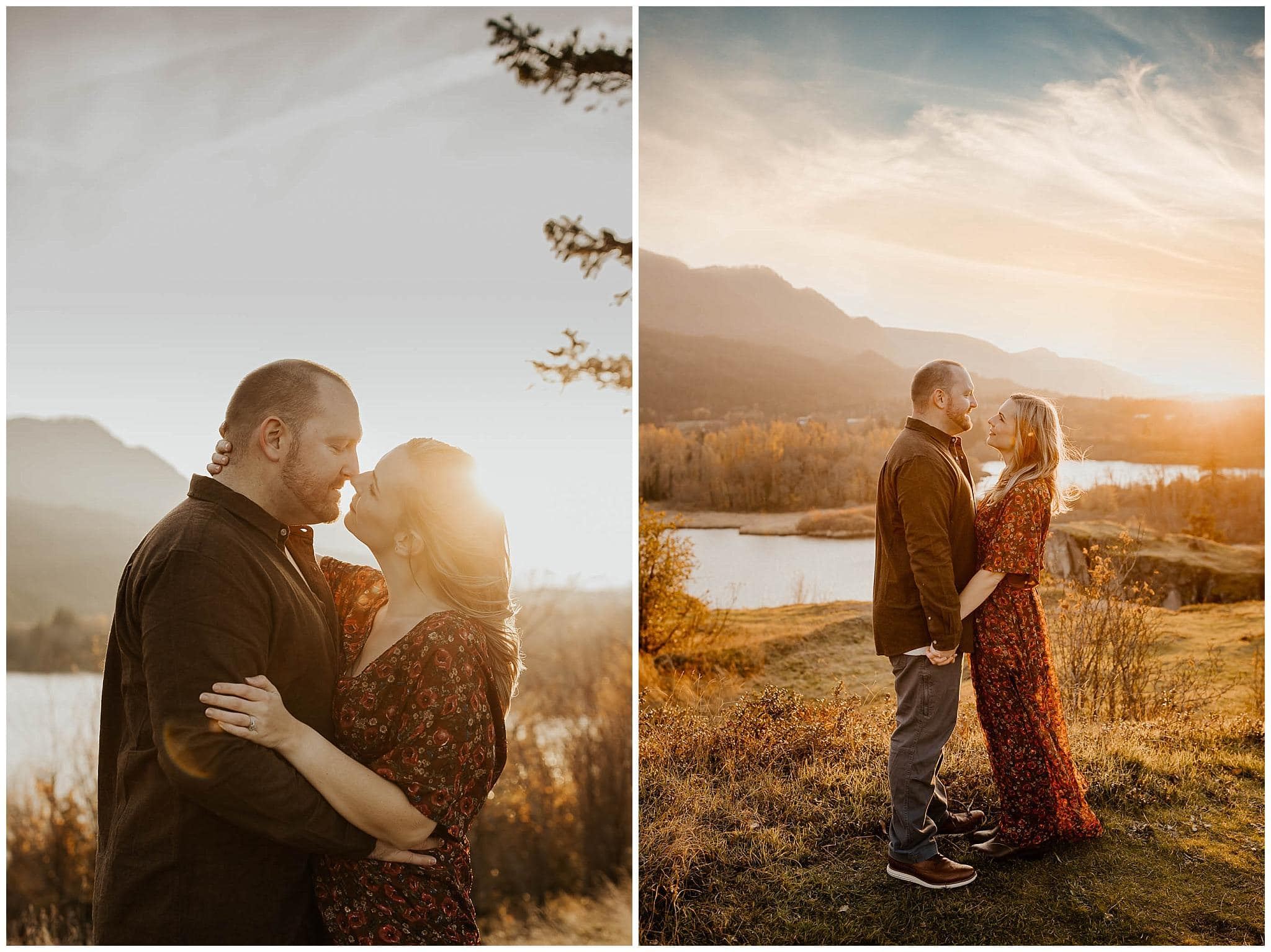 couple embracing and looking at each other with the columbia gorge landscape in the background