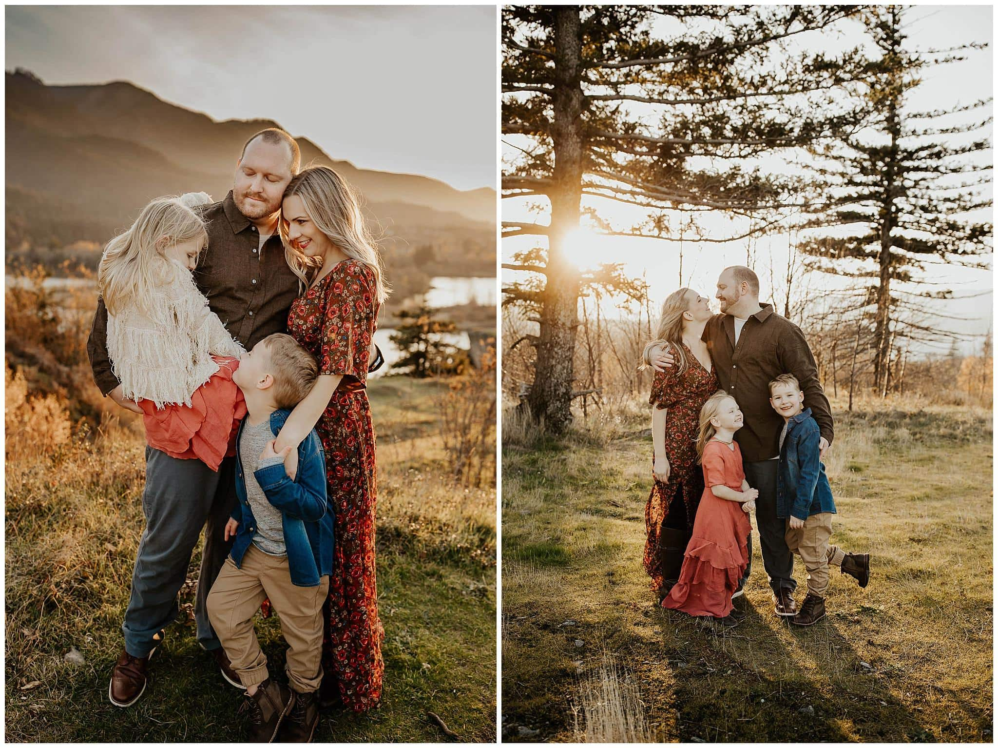 Family of four hugging and cuddling together during family photos