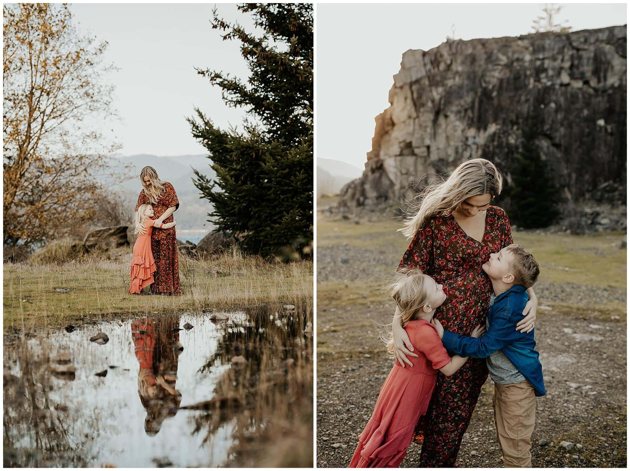 mom and her kids together in the gorge