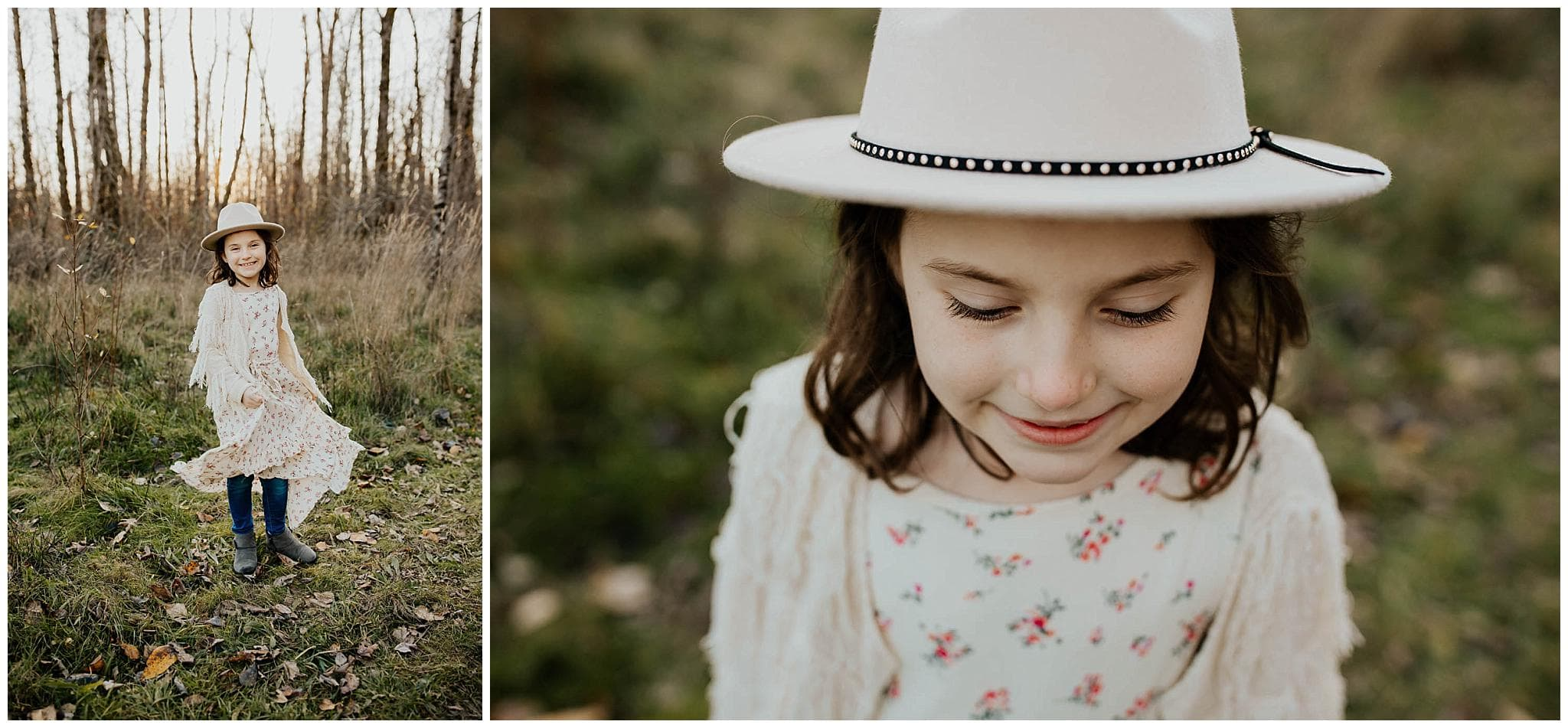 Little girl wearing a hat and floral dress smiling