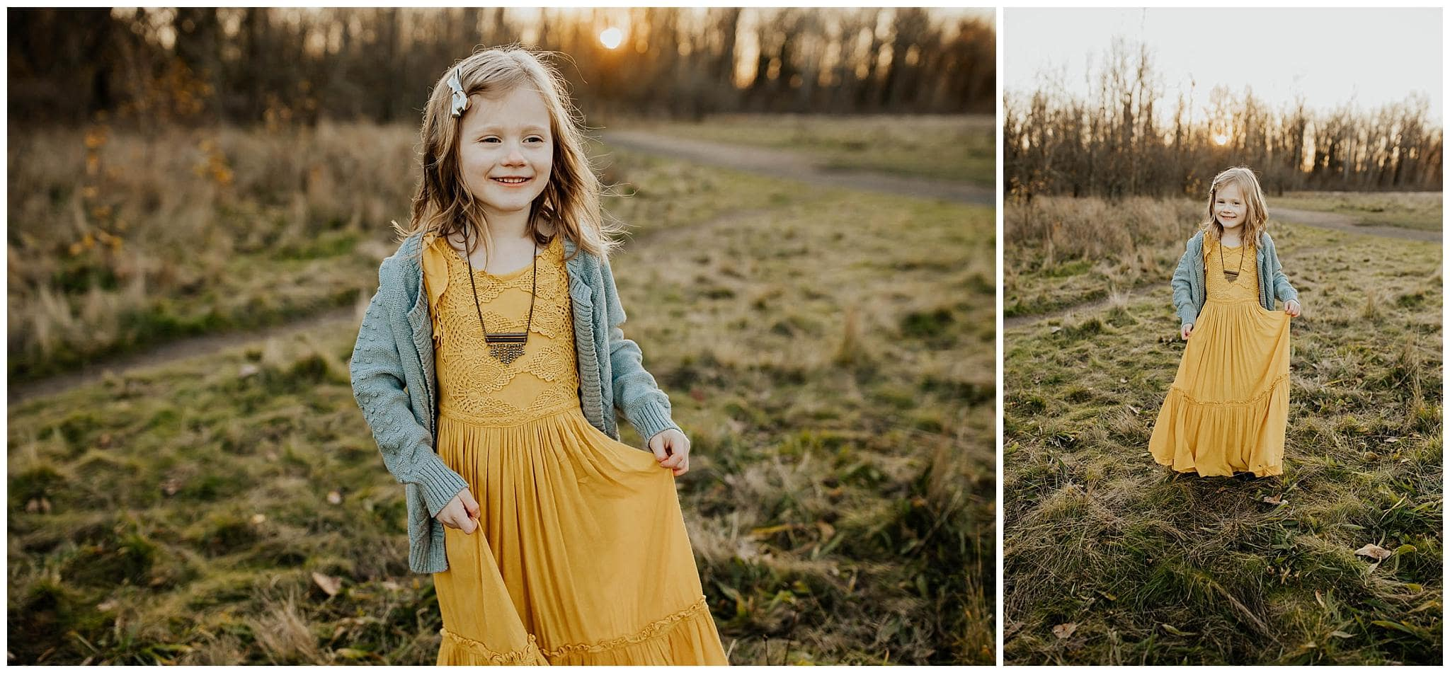 Little girl wearing a mustard maxi dress from joyfolie dancing and smiling