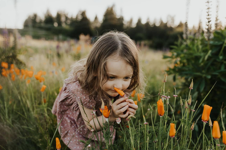 Little girl smelling an orange poppy