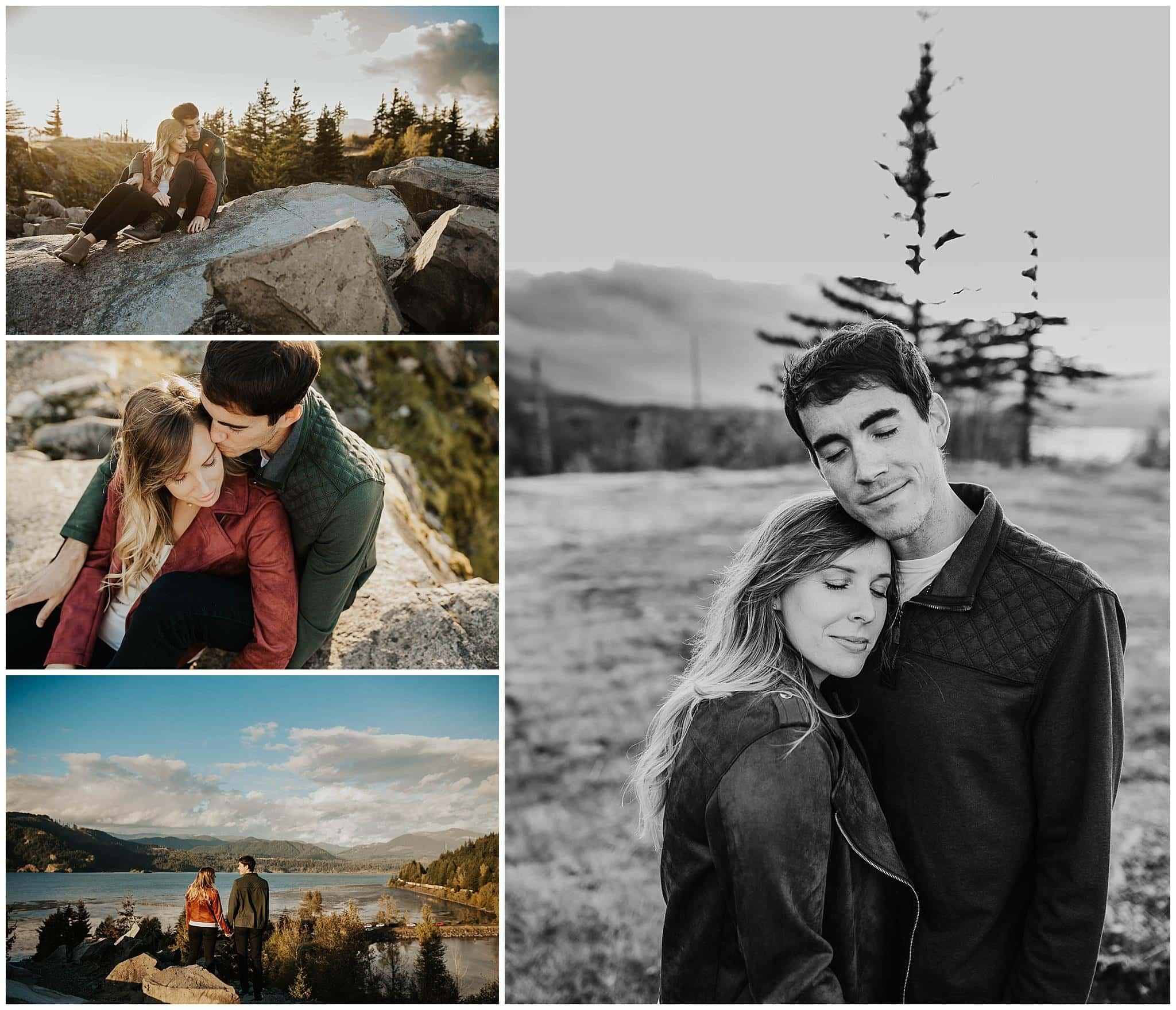 Four photos in a married collage of a couple in love