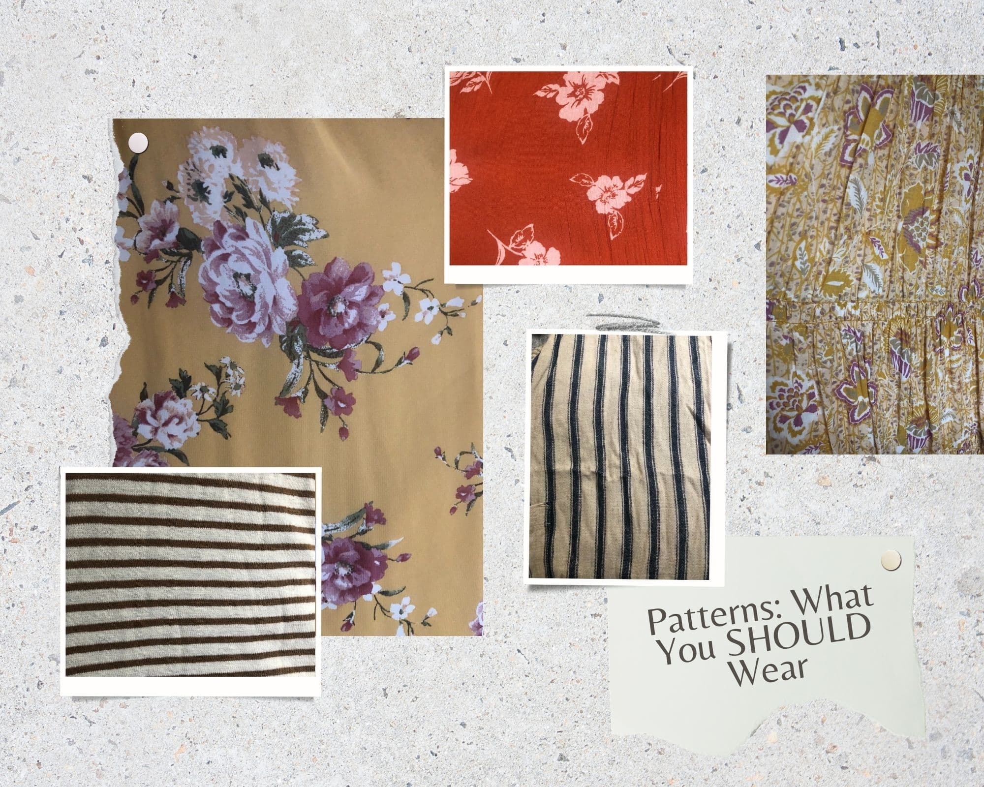 Collage of patterns that look great in photos. stripes and florals
