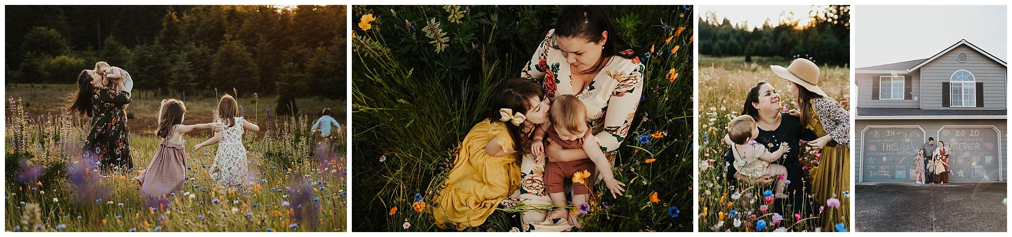 Family in a field of flowers in Portland Oregon