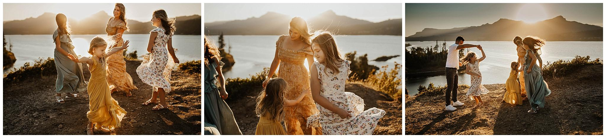 Family dancing together in maxi dresses near Portland