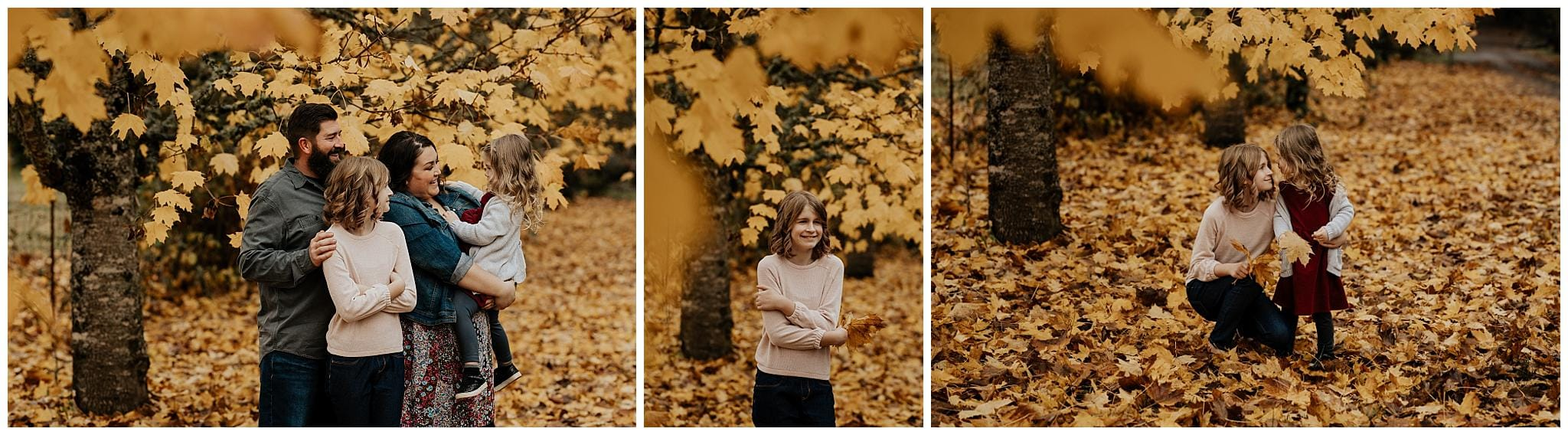 Fall family photos in yellow leaves on a cloudy day