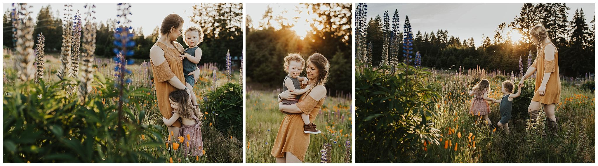 Portland Oregon mommy and me session in a field of wildflowers