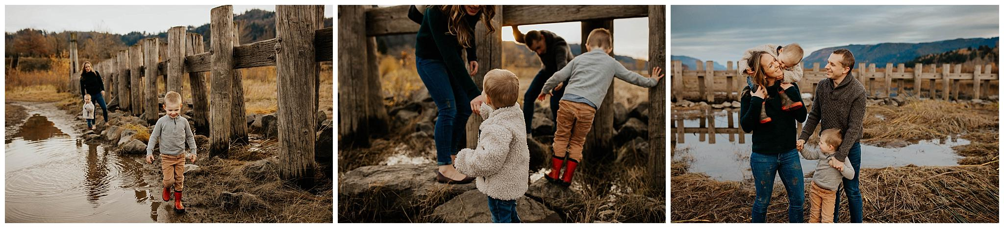 Muddy family session in the gorge in Oregon