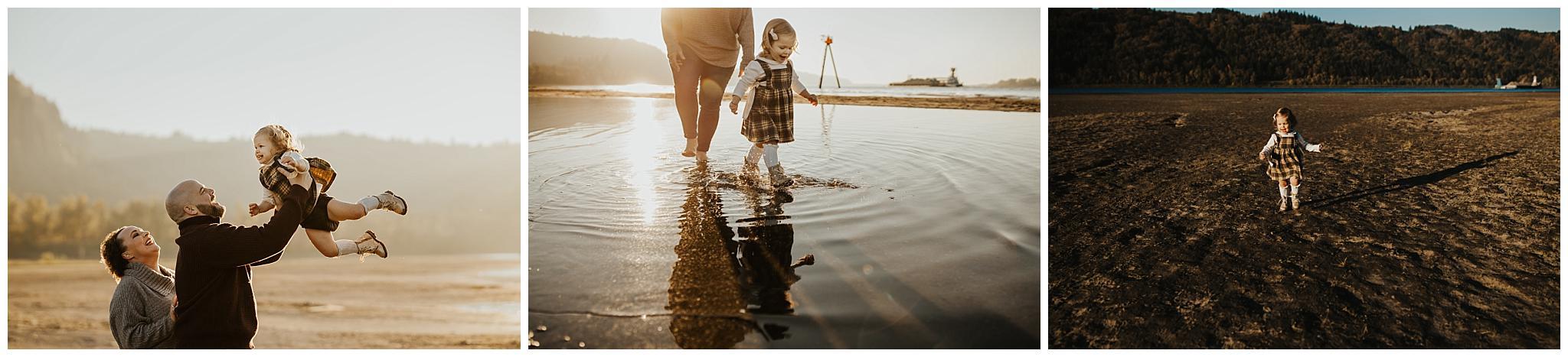 Little girl running and splashing - Portland Photographer