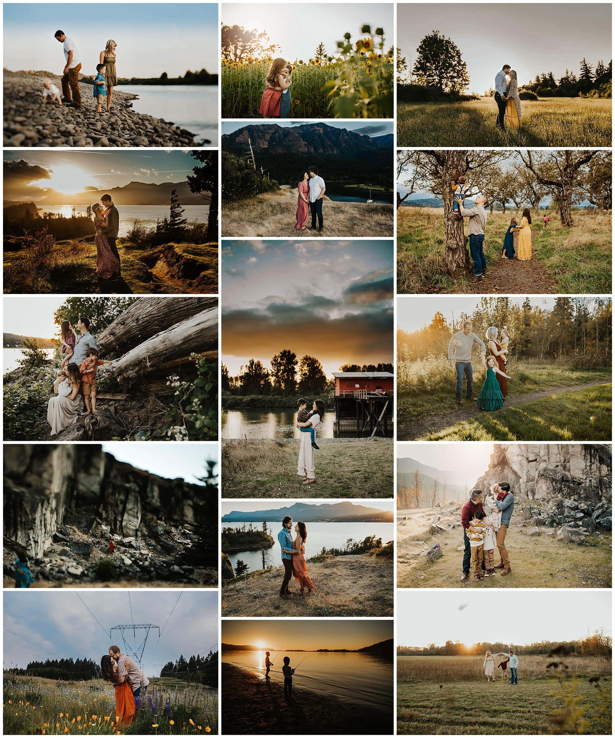 Collage of a bunch of family and couples photos with beautiful landscapes near Portland Oregon