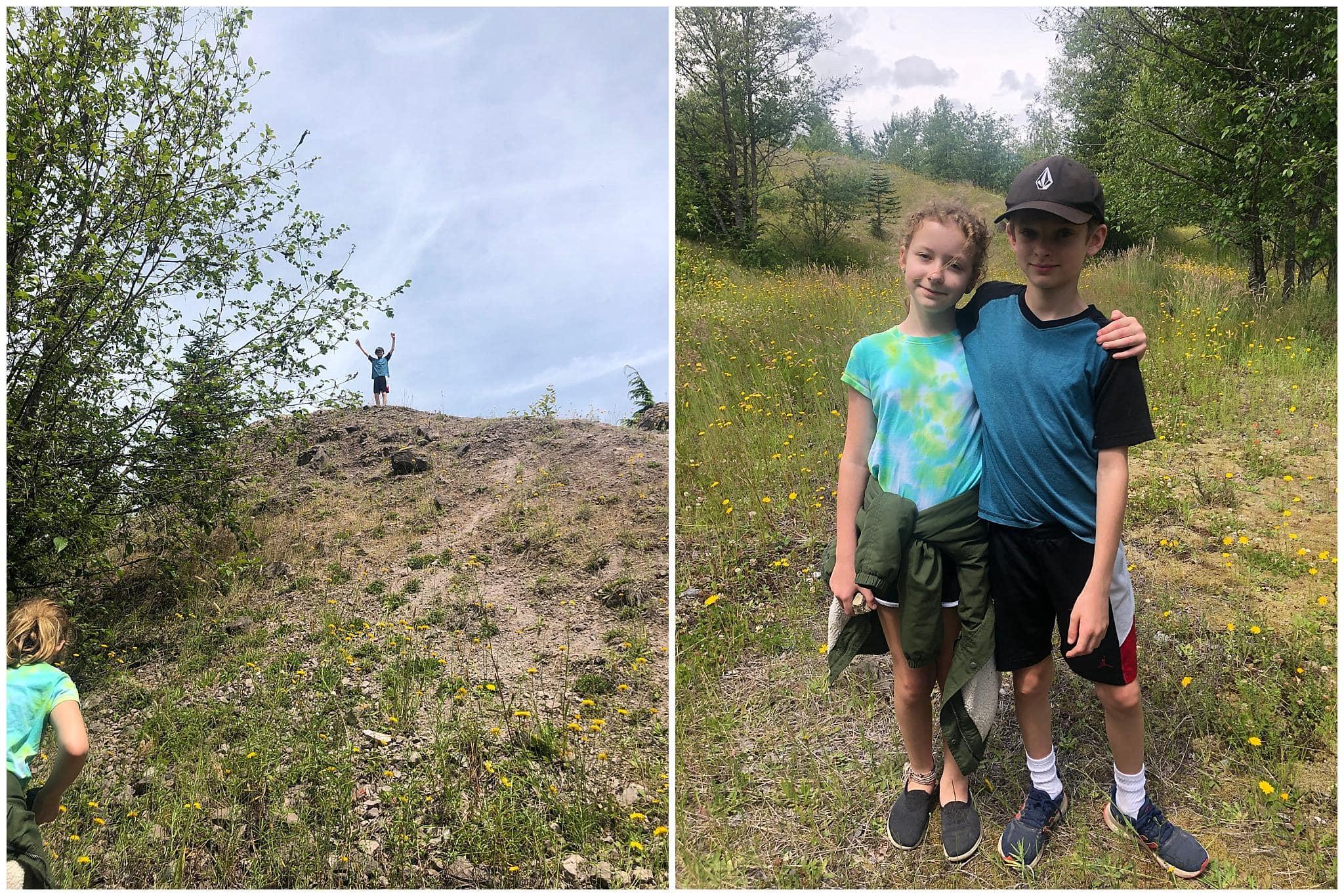 My kids hiking near mount st helens
