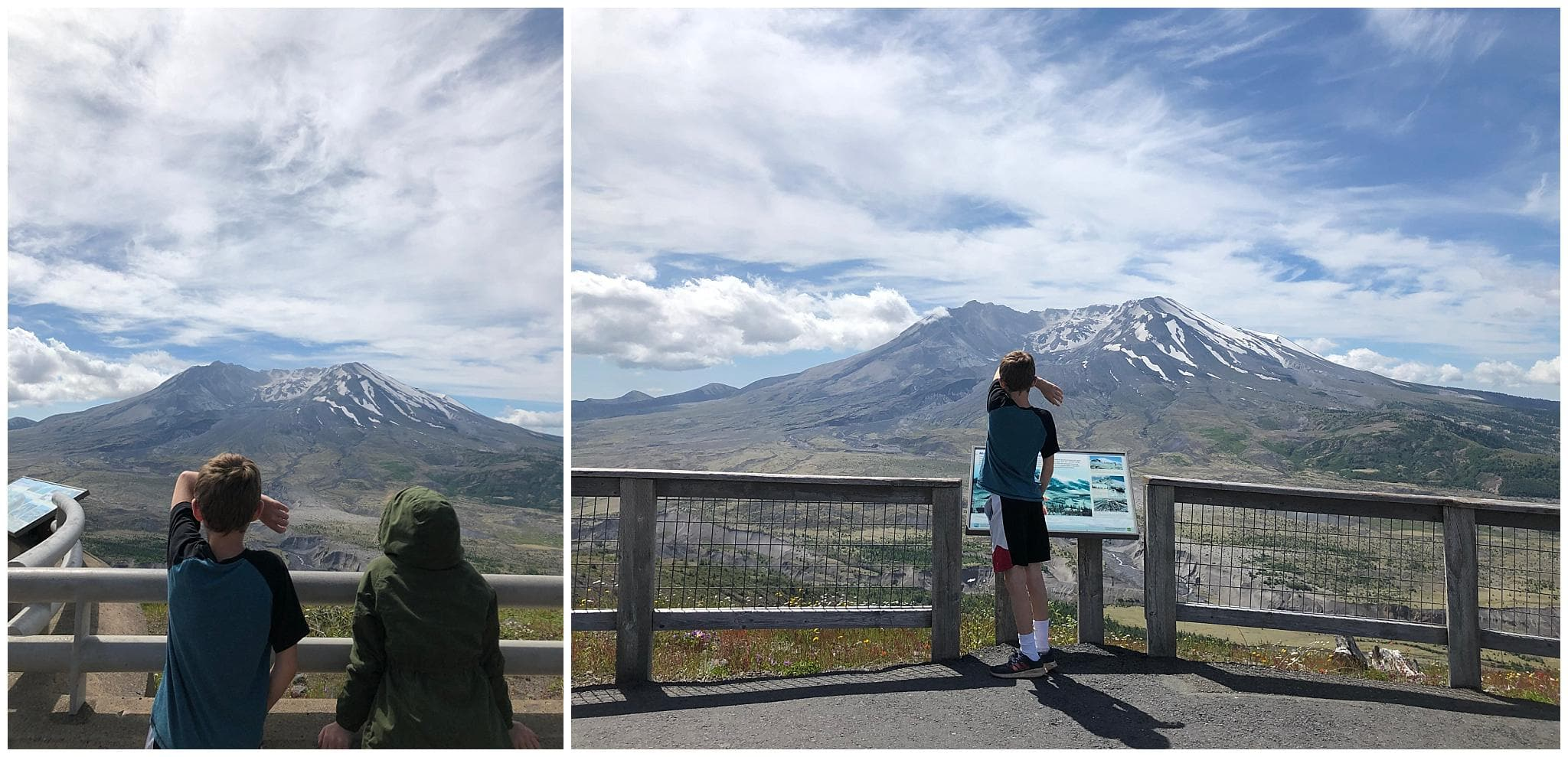 Day trip with my family to see mount saint helens - kids looking at the mountain
