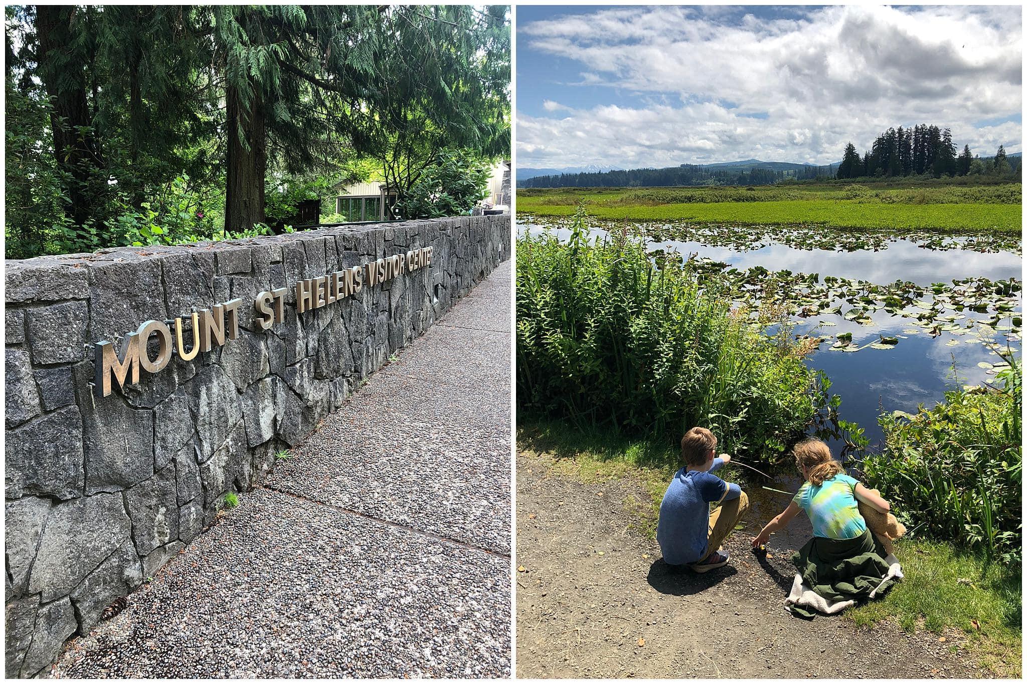 Kids exploring nature at Mount Saint Helens visitor center