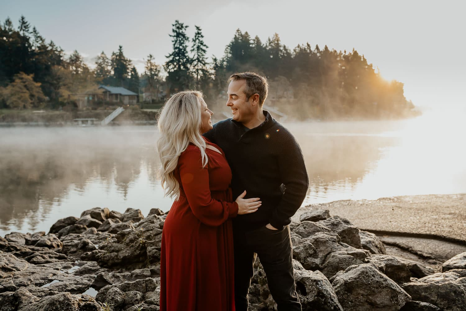 Couple standing on rocks at a river - best locations for couples photos