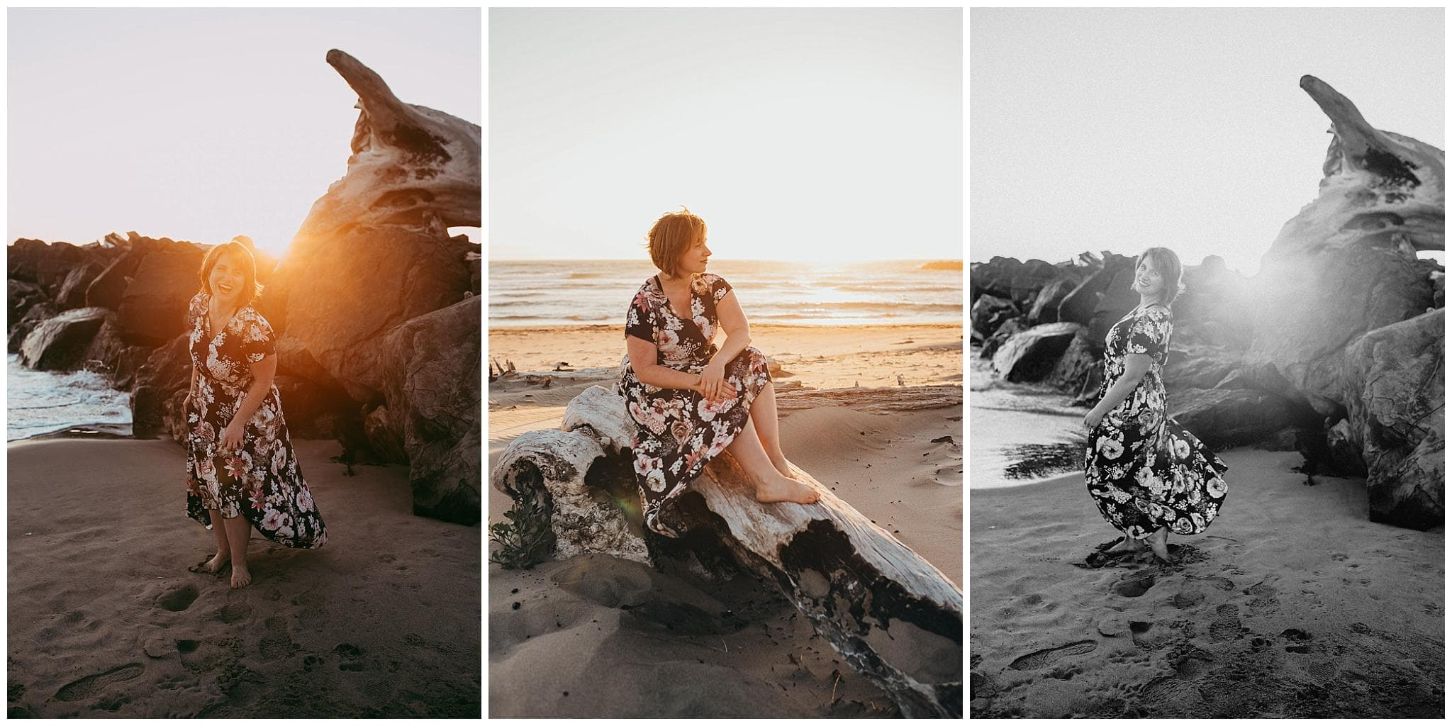 Woman sitting on driftwood at the oregon coast