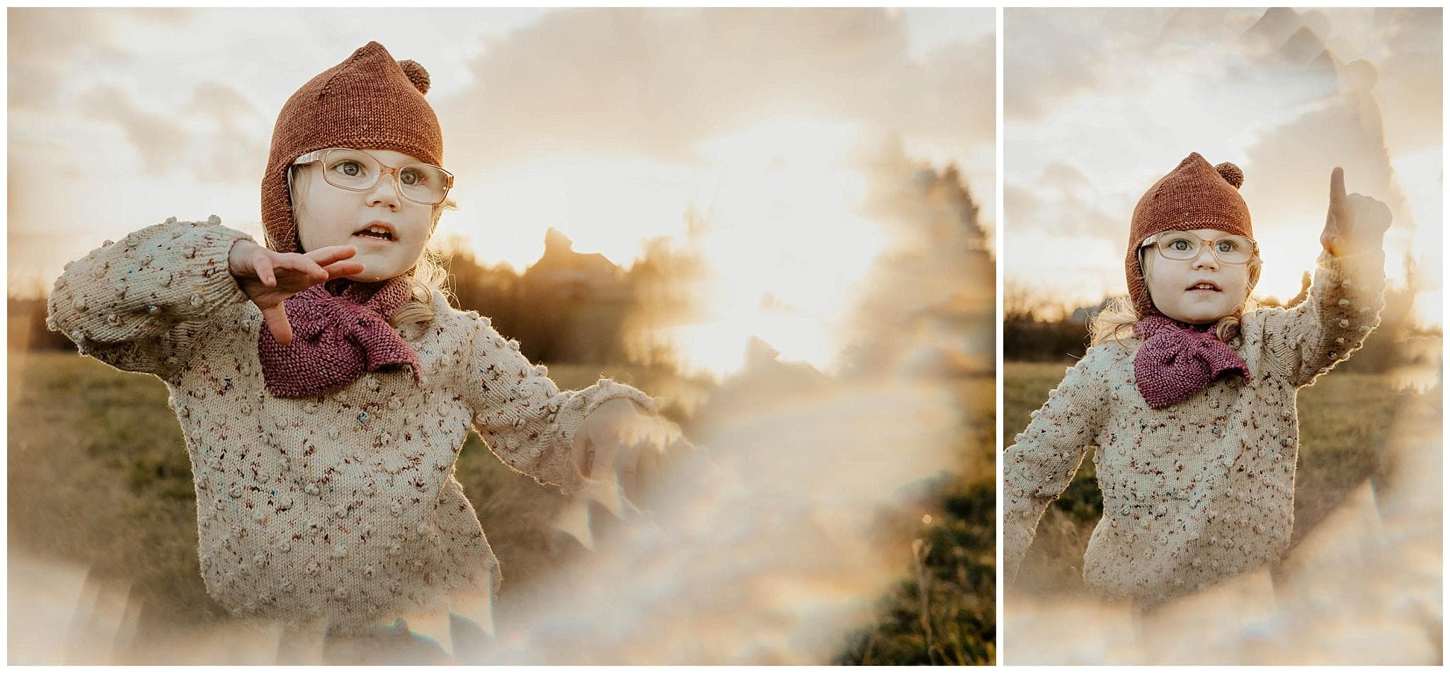 Adorable 3-year-old girl in a beanie at sunset with a circular prism effect