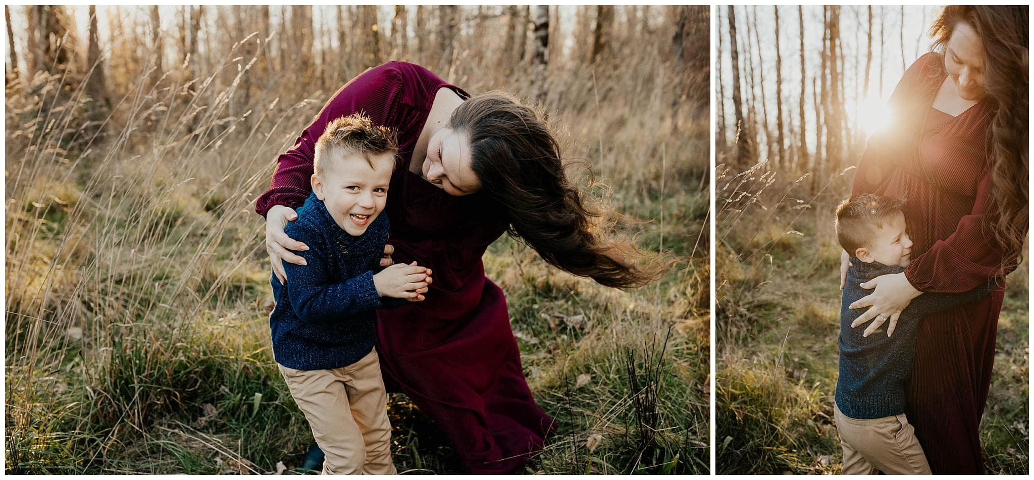 mom and son playing and laughing on a sunny winter day