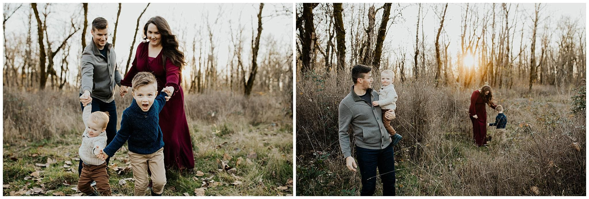 Family of four on a sunny winter day near PDX