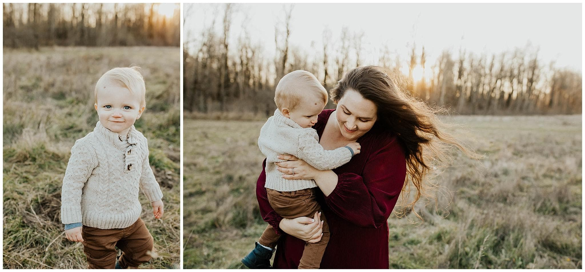mom holding toddler son while she walks through field