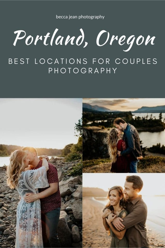 Collage of the best locations for couples photography in Portland