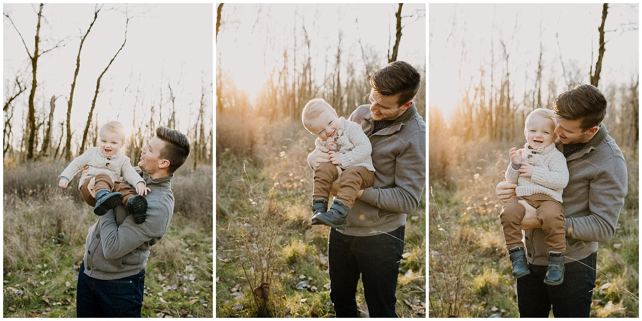 three photos of a dad and toddler son laughing together during lifestyle family photography session