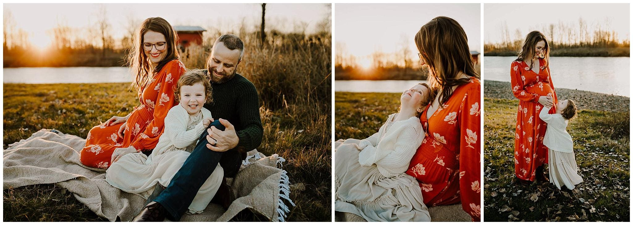 lifestyle maternity photography with a mom in orange dress cuddling her toddler daughter